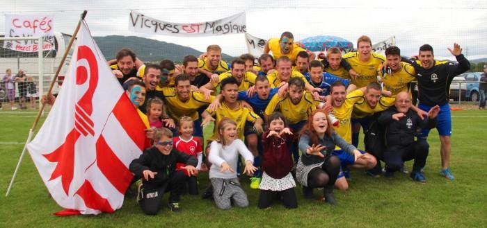 Le bonheur est aux Prés-Ronds. Le FC Vicques retrouve la deuxième ligue régionale. Photo: Laurianne Gisiger